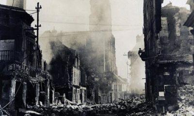 image de soissons détruite en 1918 vue sur la cathédrale