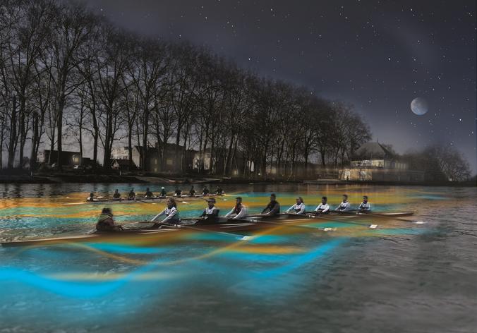 les avirons sur l'aisne de nuit à Soissons