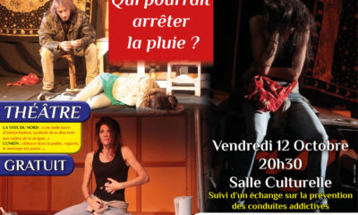 """affiche de la pièce de théâtre de la compagnie Nomades """"Qui pourrait arrêter la pluie ?""""e"""